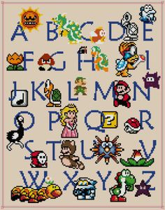 Mario ABC Sampler Cross Stitch Pattern PDF by HappyCupcakePlush, $6.00
