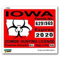 Iowa IA Zombie Hunting License Permit