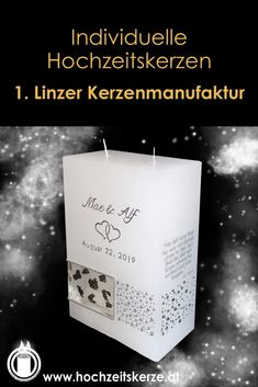 Ich fertige einzigartige Hochzeitskerzen nach individuellen Wünschen an. Ein Unikat für jedes Brautpaar. 100%ige Handarbeit aus Oberösterreich. Sie können nicht nur die Verzierung, sondern auch die Form der Kerze selbst bestimmen, da wir auch die Rohlinge nach Kundenwunsch selbst herstellen. Kerze mit Holz, Mantelkerze, Kerze mit Mineralien, Achat, Meteorit, Hochzeit selbstgemacht Standesamt Kirche Hochzeitsbrauch Geschenk Dekoration Kerze deko Trauung Trauspruch Kerzenshop Pillar Candles, Form, Embellishments, Dekoration, Candle Decorations, Newlyweds, Homemade, Candles