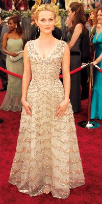 "Reese Witherspoon In Vintage Christian Dior, Academy Awards, 2006  ""Oh my dress. I still have it, it's been properly stored away. I'll never wear it again; it was a moment in time. Maybe Ava will—it would make a pretty wedding dress."""