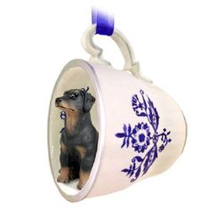 Doberman Pinscher Black Pet Dog Tea Cup Blue Ornament
