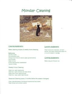 Waldorf ~ Weekly Rhythm ~ Chores ~ I like the reminder to clean with the season change.