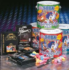 In 1993 Sega came to us as sales of their Megadrive console were dwindling. We decided to play with their strategy to get them back on the winning path. The promotion was centred on a unique paint can containing games, Sonic shaped sweets and random bonus items such as T-shirts, caps, Sega sports watches, & major prize vouchers. These items are now rare, fetching up to $350 on Ebay! The Mega Booster Pack produced mega sales, with many stores selling out within the first few days.