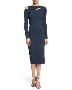 Long-Sleeve+Cold-Shoulder+Sheath+Dress,+Deep+Indigo+by+Donna+Karan+at+Bergdorf+Goodman.