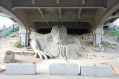 Fremont Troll in Seattle, WA. A highlight of my recent trip to Seattle, and that's a real VW Bug in his clutches! Volkswagen Beetle, Vw, I Need A Boyfriend, University Of Washington, Seattle Washington, The Great Outdoors, Troll, Places To See, Wander