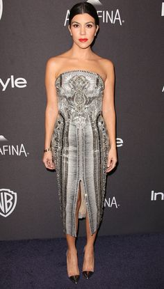 Golden Globes 2016: All the Dresses You Didn't See on the Red Carpet | People - Kourtney Kardashian in an embellished silver strapless midi dress