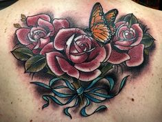 Rose and butterfly back tattoo