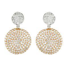 Drop Circle  18K White Gold Earrings Gold: 6.61 gms  Diamonds: 2.85 cts