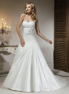 A-line Strapless floor-length taffeta wedding dress