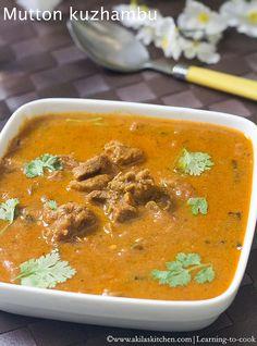 Mutton Kuzhambu | How to make Mutton Kuzhambu | Sunday Special Recipes | South Indian Lamb Kuzhambu | Aattu Kari Kuzhambu | Kari Kuzhambu | Non vegetarian Kuzhambu recipes | Www.akilaskitchen.com