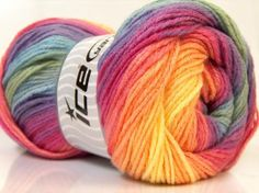 4 skeins Baby Love Ice yarn rainbow baby