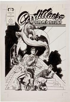 Mark Schultz Cadillacs  Dinosaurs 4 cover #MarkSchultz #Art #Comics #Drawing