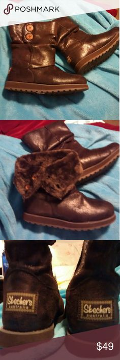 New Sketchers Short Brown Boots These are truly adorable!  They are perfect condition.  ** Practically NEW, worn once for a couple hours * Very Comfy !  Sketchers feel bouncy and so do these boots *Substantial sole, perfect for walking, hiking or shopping * Furry lining * 2 working buttons Skechers Shoes Winter & Rain Boots
