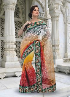 $188.38 Red Jacquard Saree 19614 With Unstitched Blouse