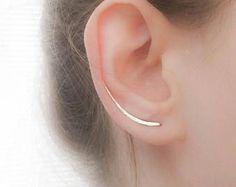 Sterling Silver Ear Climber Earrings - Ear Climbers - Silver Earrings - Ear Crawlers - Ear Sweep - Long Earrings Gold Filled Rose