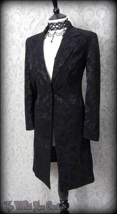 Victorian Goth Black Brocade 3/4 Riding Coat Jacket 10 12 Elegant Steampunk Vtg | THE WILTED ROSE GARDEN