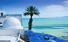 An exotic beach resort in Tunisia.