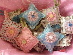 Lavender sachets adorned with YoYos.