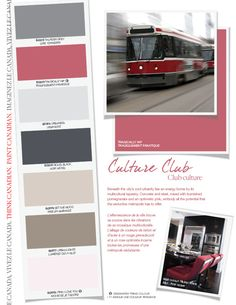 Beneath the city's cool urbanity lies an energy borne by its multicultural tapestry. Concrete and steel, mixed with burnished pomegranate and an optimistic pink, embody all the potential that the seductive metropolis has to offer. Culture Club, Home Again, Home Hardware, Color Pallets, Color Themes, Colorful Decor, Industrial Style, Color Inspiration, Paint Colors