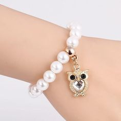 Beautiful Whole Pearl Beaded Chain Bracelet with a Crystal Owl Design Pendant
