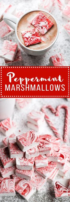 PEPPERMINT MARSHMALLOWS - Making your own marshmallows is easier than you'd think! These Peppermint Marshmallows look gorgeous, taste better than store bought, and make a great holiday gift. Be sure to save a few to enjoy in your hot cocoa! Peanut Brittle, Marshmallow Pops, Chocolate Bark, Homemade Candies, Peanut Butter Cups, Candy Recipes, Marshmallows, Christmas Candy, Christmas Treats