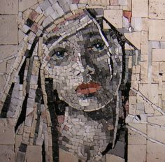 This piece, 'Pensieri' is by Italian artist and mosaicist Anna Minardo.  I particularly love these faces she does....she really brings the sensibility of an oil painter to the medium of mosaic.  She also gives classes in mosaic specialties throughout the year from her mosaic workshop, Passion 4 Mosaic - in Melbourne, Australia.