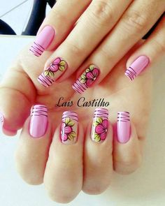 57 new ideas for fails design gel spring pink flowers Fabulous Nails, Perfect Nails, Cute Nails, Pretty Nails, Hair And Nails, My Nails, French Tip Nails, Flower Nails, Spring Nails