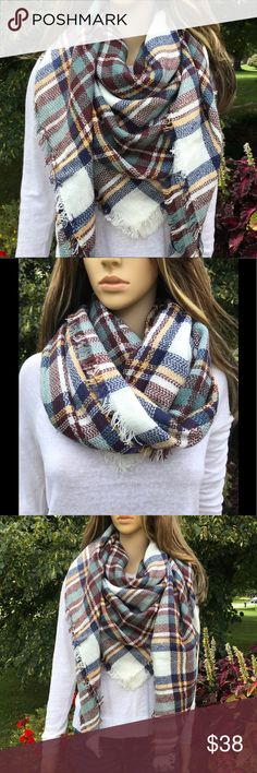 SOFT BLANKET SCARF QUALITY BLANKET SCARF/WRAP MULTI COLOR, SOFT. NUMEROUS WAYS TO WEAR IT.  See above pictures boutique Accessories Scarves & Wraps