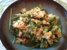 farro with scallions, peas, and goat cheese #vegetarian