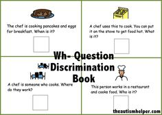 Wh- Discrimination Book {works on who, what, where, and when questions together!} by theautismhelper.com