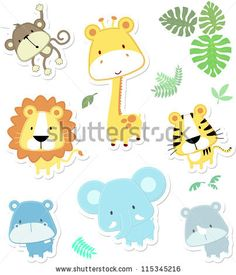 vector cartoon illustration of seven baby animals and jungle leaves, individual objects very easy to edit, ideal for childs decoration - stock vector