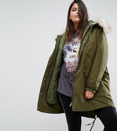 e40f1f05e00 ASOS CURVE Oversized Parka with Padded Liner - Green Plus Size Womens  Clothing