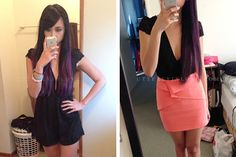 brown roots purple tips hair ombre - Google Search