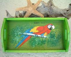 I think I NEED this!! Red Macaw Parrot Wood Serving Tray Hand Painted Costa Rica