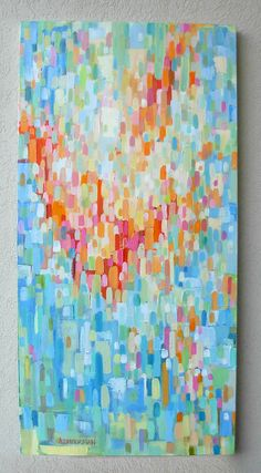 I totally want to try to paint something in this style!!    Splashy Red Orange and Blue by SaltWaterStudios on Etsy