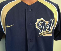 MILWAUKEE BREWERS NIKE EMBROIDERED BUTTON DOWN JERSEY ADULT SMALL FREE SHIP #Nike #MilwaukeeBrewers