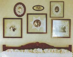 photos in the center of doilies-framed for art work