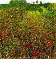 Poppy Field, 1907 - by Gustave Klimt Gustav Klimt, Klimt Art, Monet, Landscape Art, Landscape Paintings, Art Nouveau, Baumgarten, Vienna Secession, Dark Autumn