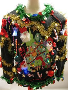 Ugly sweater party at work. halfway considering making something but halfway not interested. Needing ideas for a FUN Ugly Christmas Sweater Party check out Homemade Ugly Christmas Sweater, Ugly Christmas Shirts, Tacky Christmas Sweater, Xmas Sweaters, Ugliest Christmas Sweaters, Christmas Clothes, Christmas Jumpers, Ugly Sweater Contest, Ugly Sweater Party