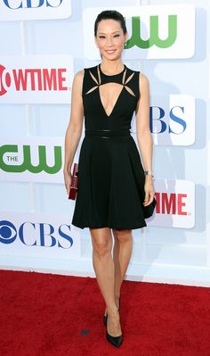 Lucy Liu at the 2012 CW, CBS and Showtime 2012 Summer TCA Party at The Beverly Hilton Hotel on July 2012 in Beverly Hills, California in the J.Mendel Techno Jersey Dress with Godet Skirt. Lucy Liu, Ally Mcbeal, Cutout Dress, Glamour, Wearing Black, Sherlock, New York City, Techno, Vestidos