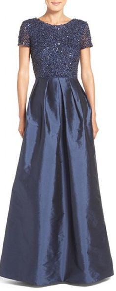 Classy navy taffeta ballgown with flickering sequins bodice for a beautiful mother of the bride.