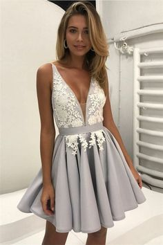Elegant A-Line Deep V-Neck Homecoming Dresses,Backless Short Homecoming Dress With Lace#lacedress #homecomingdresses #homecoming #short #shortdress #shortpromdress #promotion #prom #fashion #fashionstyle