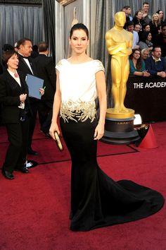 black and gold,Sandra Bullock in Marchesa