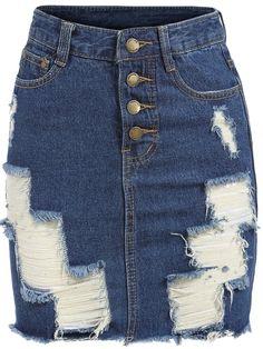 Blue Ripped Buttons Denim Skirt    -SheIn