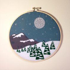 """SALE 35% OFF - Now $35.75  """"Walkin' in a winter wonderland..."""" Snowy Mountain Scene Embroidery by TheBeefyChicken"""