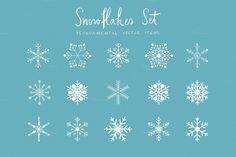 Snowflakes Set (vector) by Inkant Studio on Creative Market