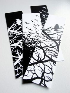 Black and White Crow Bookmarks Set of 4 by CJseaside on Etsy, $3.00
