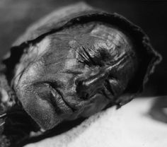 The Tollund Man, over 2000 years old, was preserved in Denmark's Jutland bog. When he was found, he wore a pointed skin cap fastened under his chin with a hide thong and a smooth hide belt. There was also a garrote of hide drawn around his neck. Image: Sven Rosborn