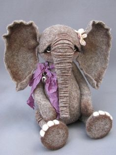 Needle felted artist elephant by Blueberry by BlueberryCreations