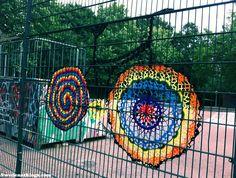 crochet yarnbomb (bike tribute) by POLI, in the Oosterpark in Amsterdam